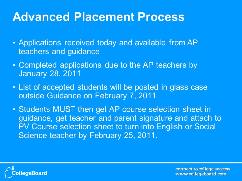 Advanced Placement Process Applications received today and available from AP teachers and guidance Completed applications due to the AP teachers by Ja