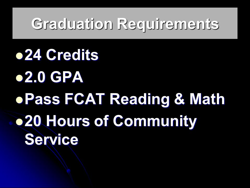 Graduation Requirements 24 Credits 24 Credits 2.0 GPA 2.0 GPA Pass FCAT Reading & Math Pass FCAT Reading & Math 20 Hours of Community Service 20 Hours of Community Service