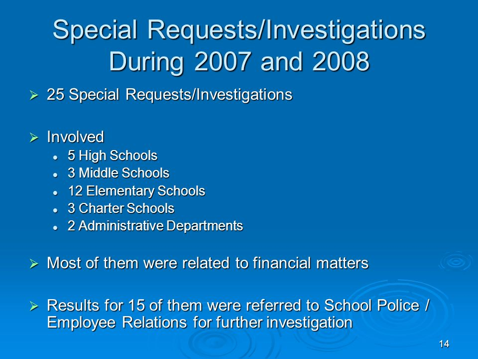 14 Special Requests/Investigations During 2007 and 2008 25 Special Requests/Investigations 25 Special Requests/Investigations Involved Involved 5 High Schools 5 High Schools 3 Middle Schools 3 Middle Schools 12 Elementary Schools 12 Elementary Schools 3 Charter Schools 3 Charter Schools 2 Administrative Departments 2 Administrative Departments Most of them were related to financial matters Most of them were related to financial matters Results for 15 of them were referred to School Police / Employee Relations for further investigation Results for 15 of them were referred to School Police / Employee Relations for further investigation