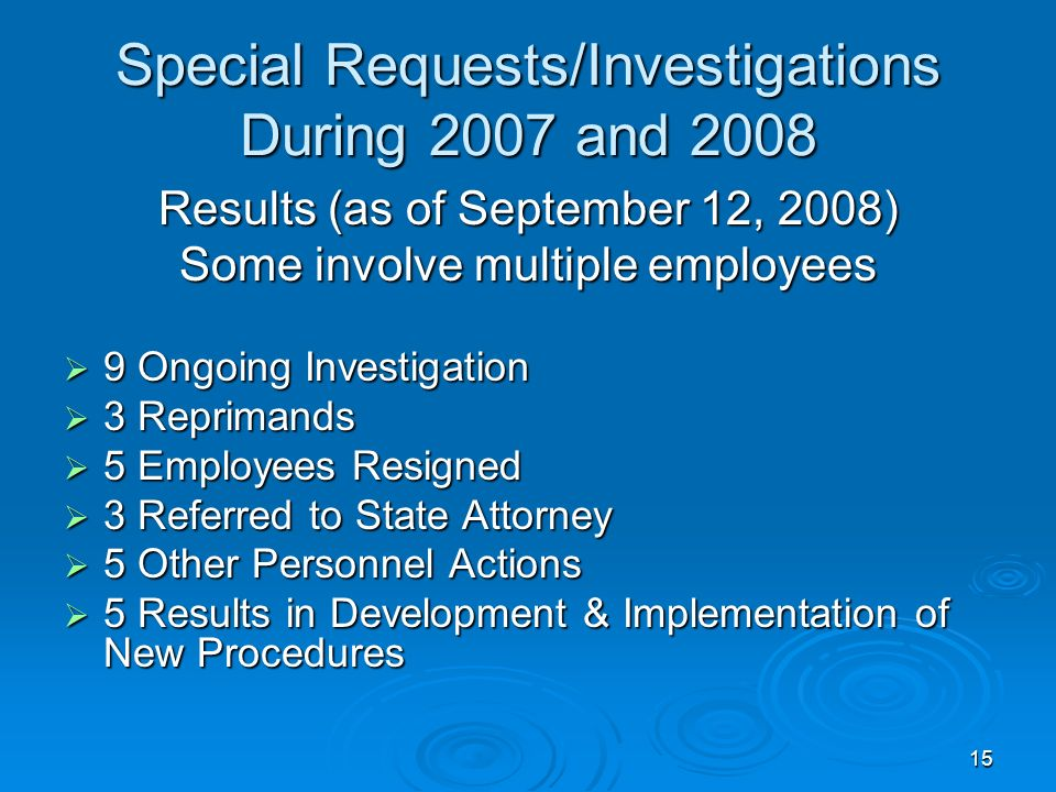 15 Special Requests/Investigations During 2007 and 2008 Results (as of September 12, 2008) Some involve multiple employees 9 Ongoing Investigation 9 Ongoing Investigation 3 Reprimands 3 Reprimands 5 Employees Resigned 5 Employees Resigned 3 Referred to State Attorney 3 Referred to State Attorney 5 Other Personnel Actions 5 Other Personnel Actions 5 Results in Development & Implementation of New Procedures 5 Results in Development & Implementation of New Procedures