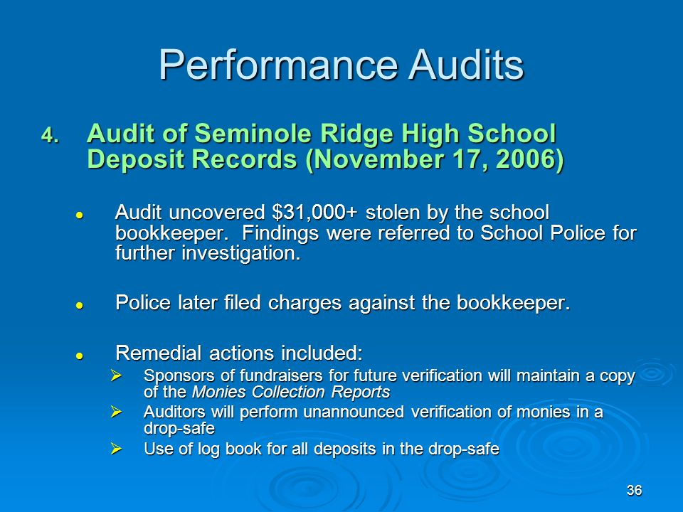 36 Performance Audits 4.