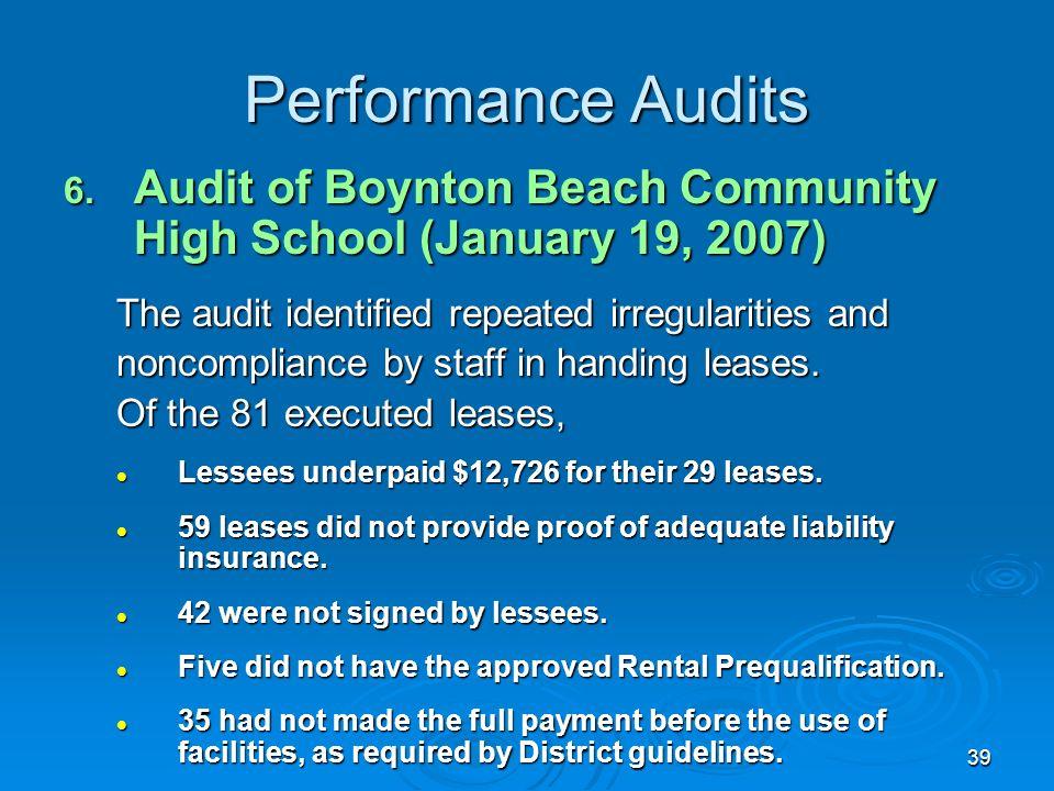 39 Performance Audits 6.