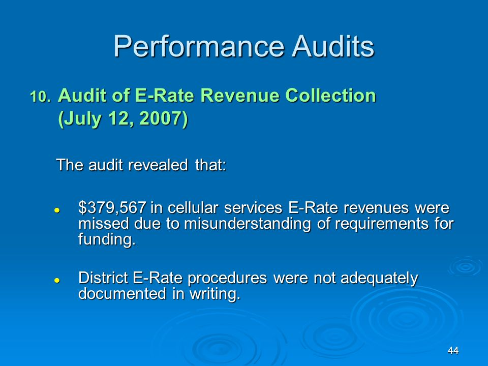 44 Performance Audits 10.