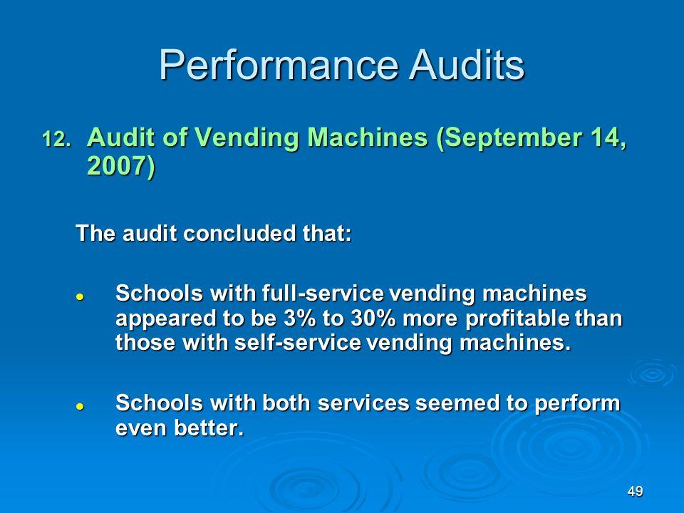 49 Performance Audits 12.