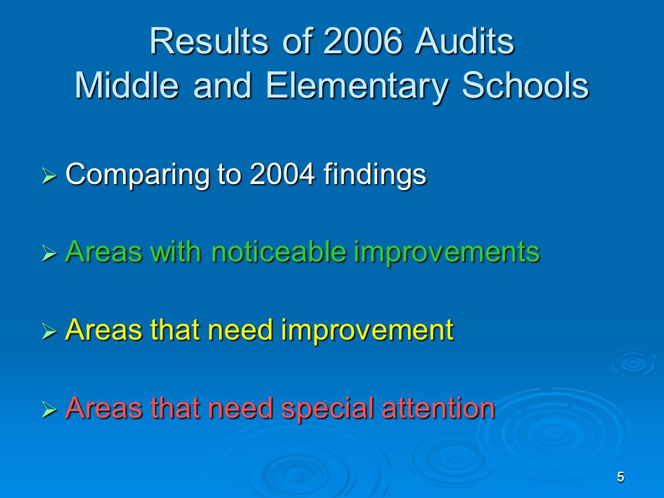 5 Results of 2006 Audits Middle and Elementary Schools Comparing to 2004 findings Comparing to 2004 findings Areas with noticeable improvements Areas with noticeable improvements Areas that need improvement Areas that need improvement Areas that need special attention Areas that need special attention