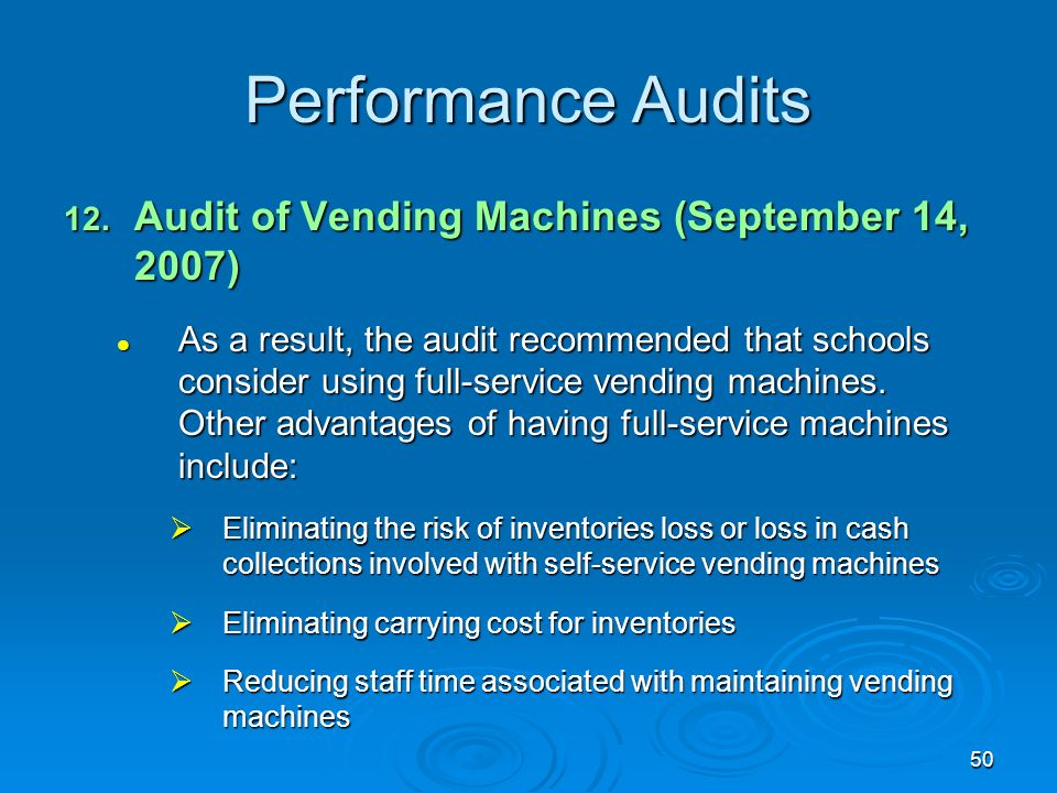 50 Performance Audits 12.