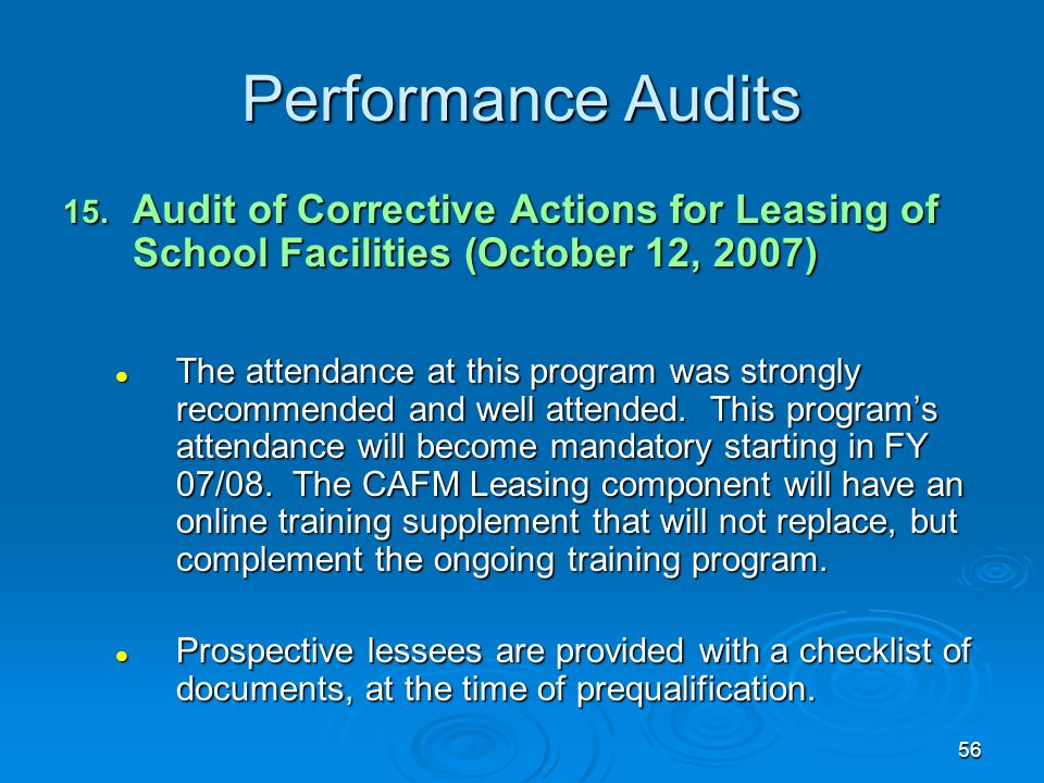 56 Performance Audits 15.