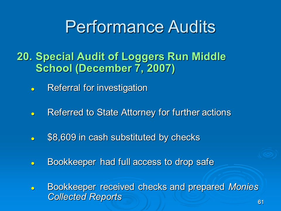61 Performance Audits 20.Special Audit of Loggers Run Middle School (December 7, 2007) Referral for investigation Referral for investigation Referred to State Attorney for further actions Referred to State Attorney for further actions $8,609 in cash substituted by checks $8,609 in cash substituted by checks Bookkeeper had full access to drop safe Bookkeeper had full access to drop safe Bookkeeper received checks and prepared Monies Collected Reports Bookkeeper received checks and prepared Monies Collected Reports