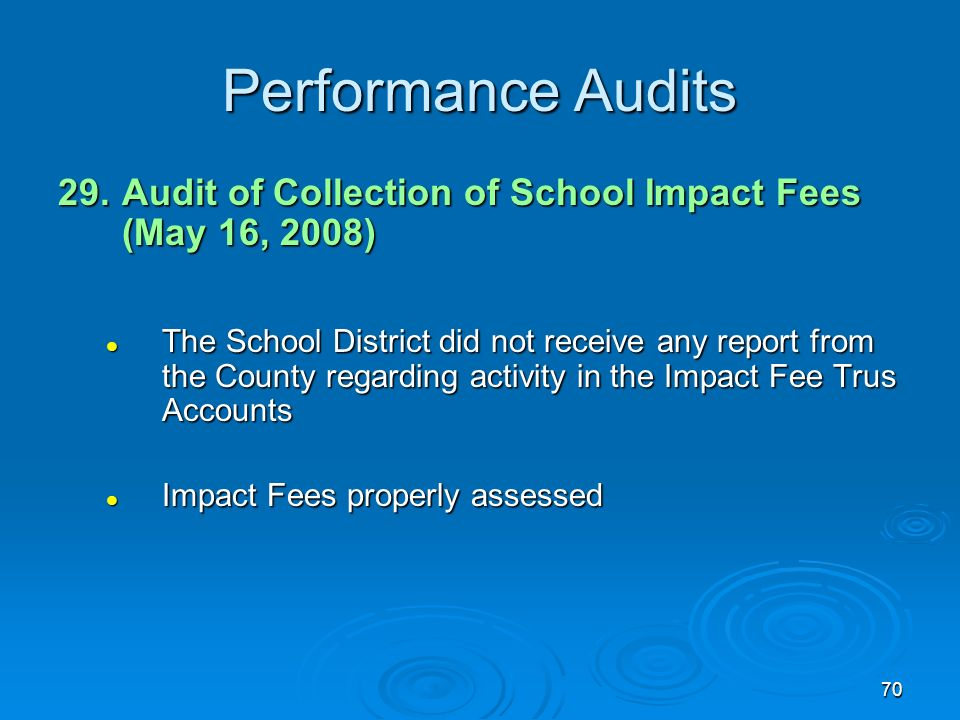 70 Performance Audits 29.Audit of Collection of School Impact Fees (May 16, 2008) The School District did not receive any report from the County regarding activity in the Impact Fee Trus Accounts The School District did not receive any report from the County regarding activity in the Impact Fee Trus Accounts Impact Fees properly assessed Impact Fees properly assessed