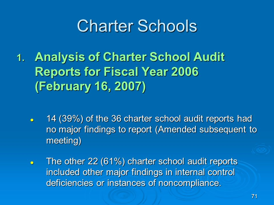 71 Charter Schools 1. Analysis of Charter School Audit Reports for Fiscal Year 2006 (February 16, 2007) 14 (39%) of the 36 charter school audit report