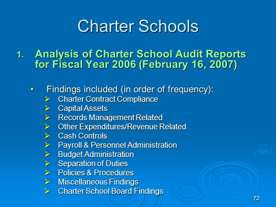 72 Charter Schools 1. Analysis of Charter School Audit Reports for Fiscal Year 2006 (February 16, 2007) Findings included (in order of frequency):Find