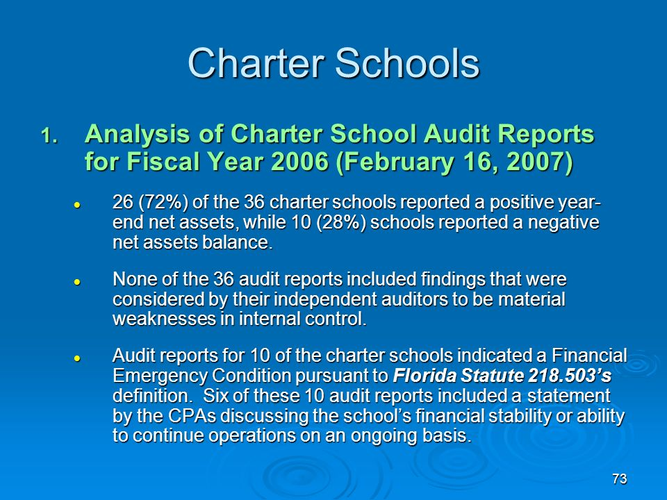 73 Charter Schools 1. Analysis of Charter School Audit Reports for Fiscal Year 2006 (February 16, 2007) 26 (72%) of the 36 charter schools reported a