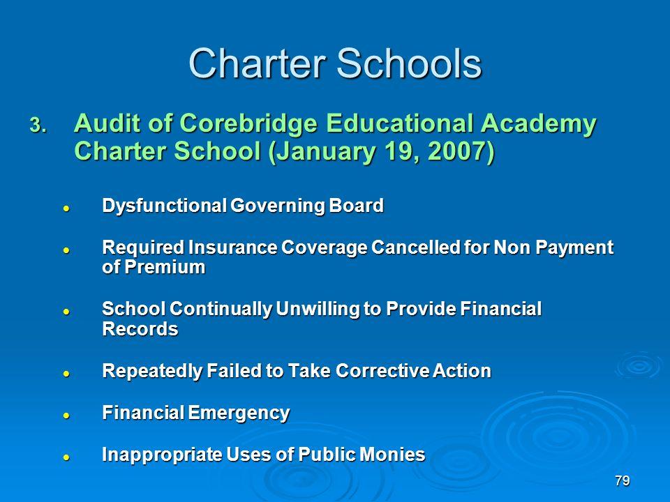 79 Charter Schools 3. Audit of Corebridge Educational Academy Charter School (January 19, 2007) Dysfunctional Governing Board Dysfunctional Governing