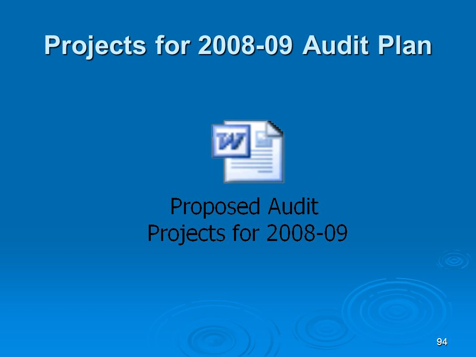 94 Projects for 2008-09 Audit Plan
