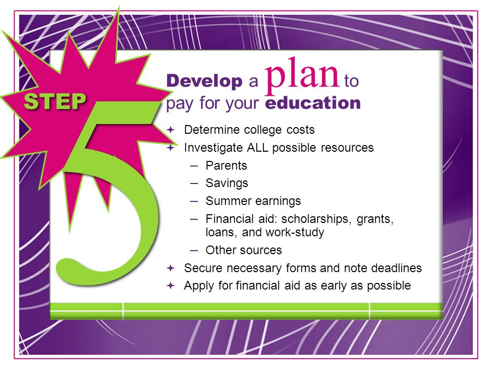 STEP Develop a plan to pay for your education Determine college costs Investigate ALL possible resources – Parents – Savings – Summer earnings – Financial aid: scholarships, grants, loans, and work-study – Other sources Secure necessary forms and note deadlines Apply for financial aid as early as possible