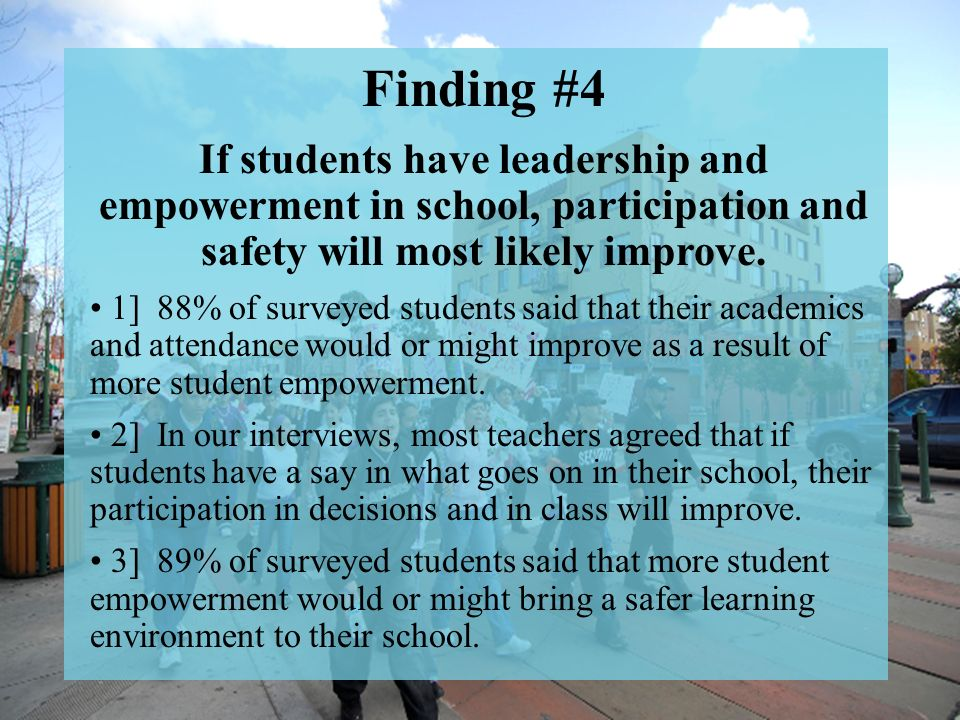 Finding 4 Finding #4 If students have leadership and empowerment in school, participation and safety will most likely improve.