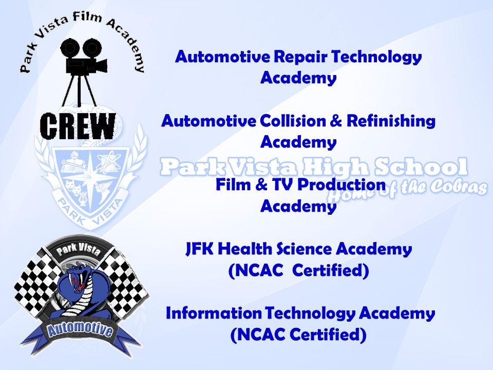 Automotive Repair Technology Academy Automotive Collision & Refinishing Academy Film & TV Production Academy JFK Health Science Academy (NCAC Certifie