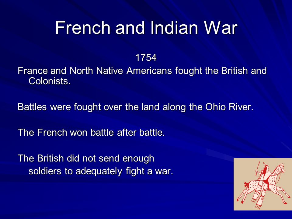 French and Indian War 1754 France and North Native Americans fought the British and Colonists.