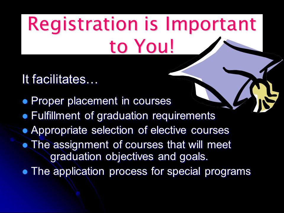 Registration is Important to You.