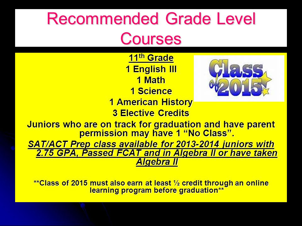Recommended Grade Level Courses 11 th Grade 1 English III 1 Math 1 Science 1 American History 3 Elective Credits Juniors who are on track for graduation and have parent permission may have 1 No Class.