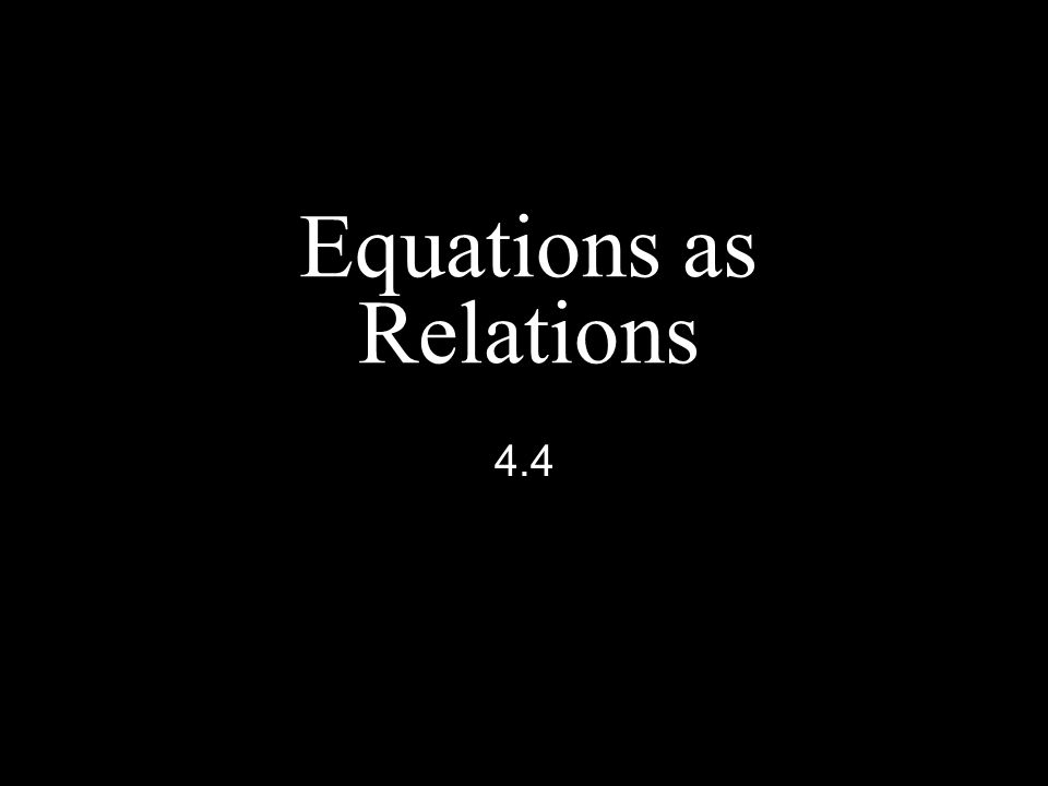 Equations as Relations 4.4