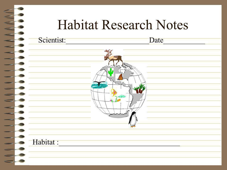 Habitat Research Notes Scientist:______________________Date___________ Habitat :________________________________