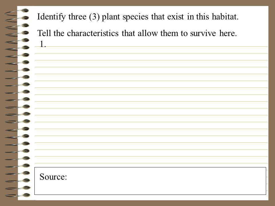 Identify three (3) plant species that exist in this habitat.