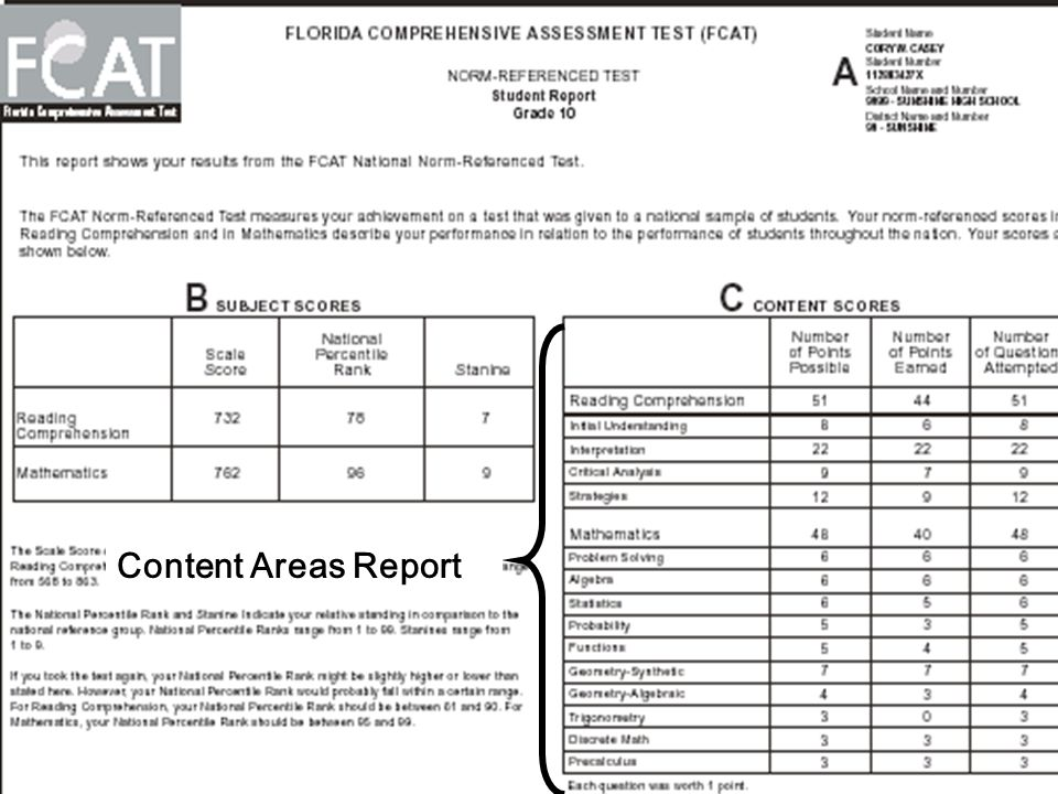 Content Areas Report