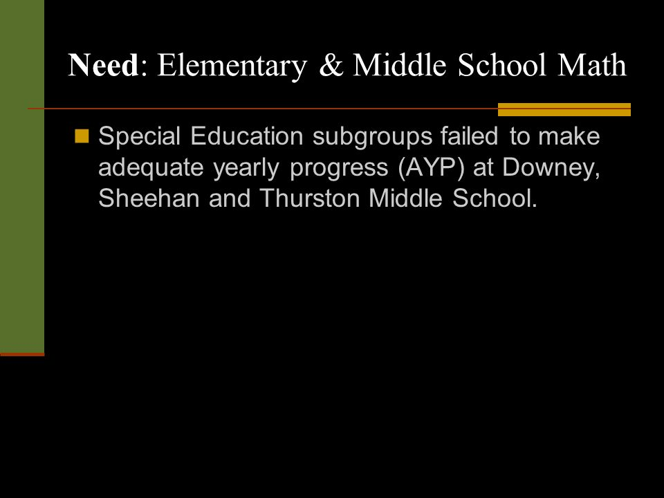 Need: Elementary & Middle School Math Special Education subgroups failed to make adequate yearly progress (AYP) at Downey, Sheehan and Thurston Middle School.