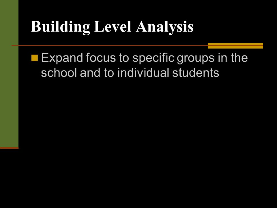 Building Level Analysis Expand focus to specific groups in the school and to individual students