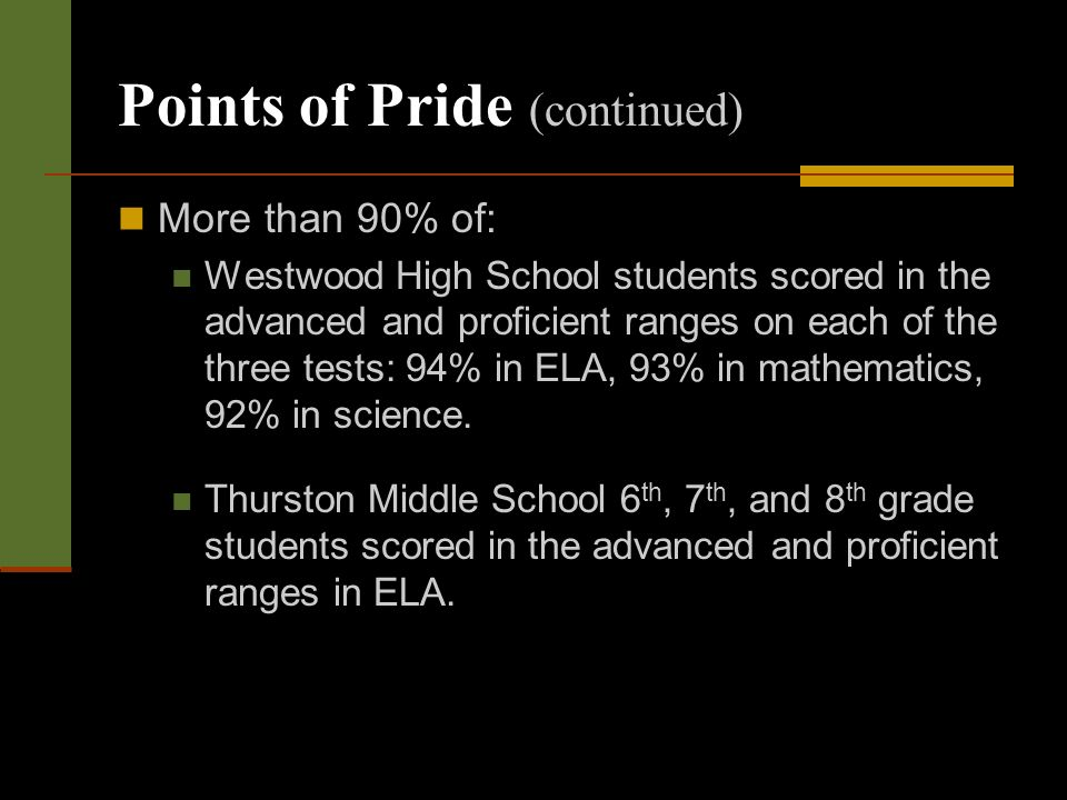 Points of Pride (continued) More than 90% of: Westwood High School students scored in the advanced and proficient ranges on each of the three tests: 94% in ELA, 93% in mathematics, 92% in science.