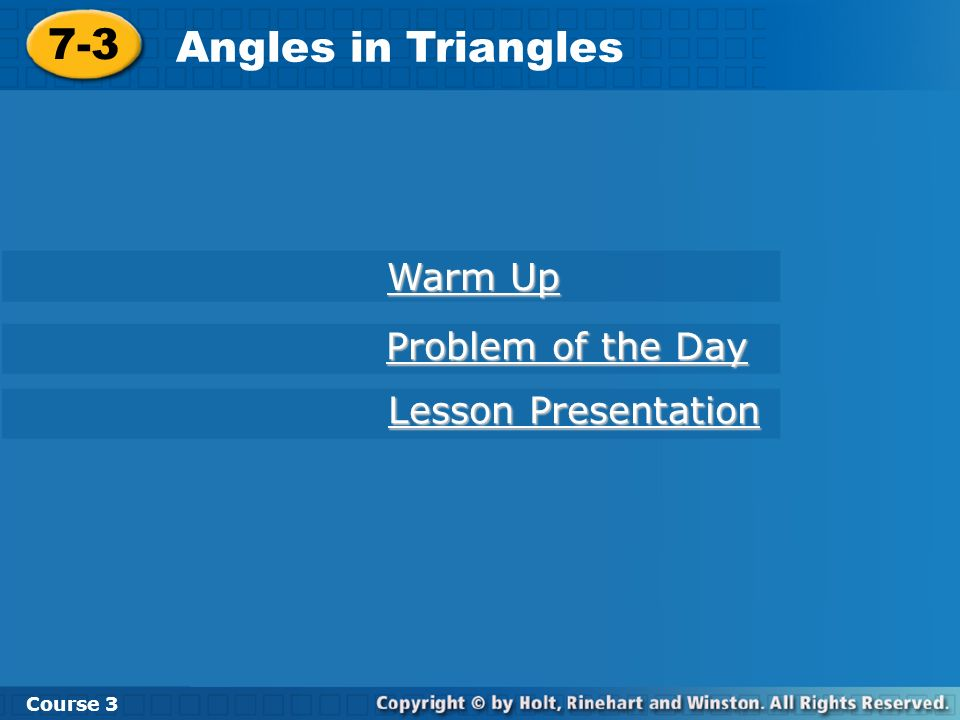 Check It Out: Example 1A Find a° in the acute triangle.