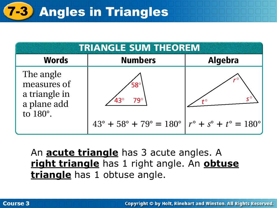Additional Example 1A: Finding Angles in Acute, Right and Obtuse Triangles Find p° in the acute triangle.