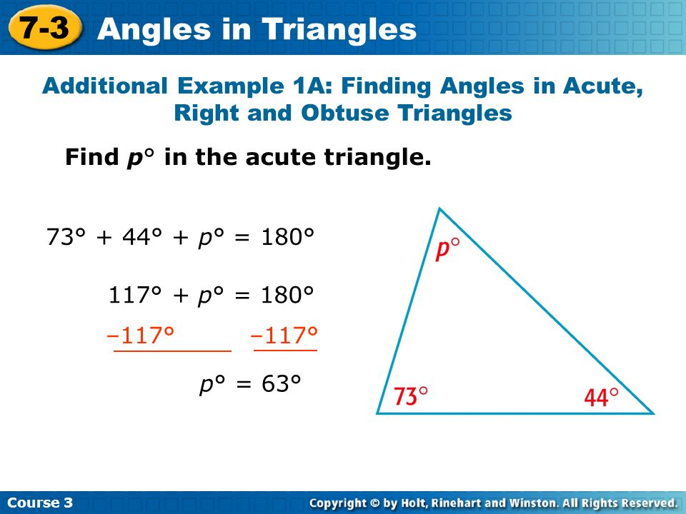 3x° + 7x° + 10x° = 180° 20x° = 180° x = 9° 20 20 Find the angle measures in the scalene triangle.