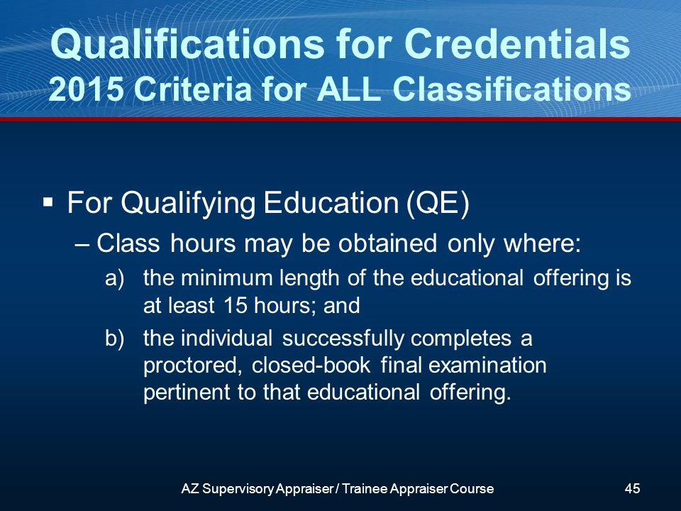 For Qualifying Education (QE) –Class hours may be obtained only where: a)the minimum length of the educational offering is at least 15 hours; and b)the individual successfully completes a proctored, closed-book final examination pertinent to that educational offering.