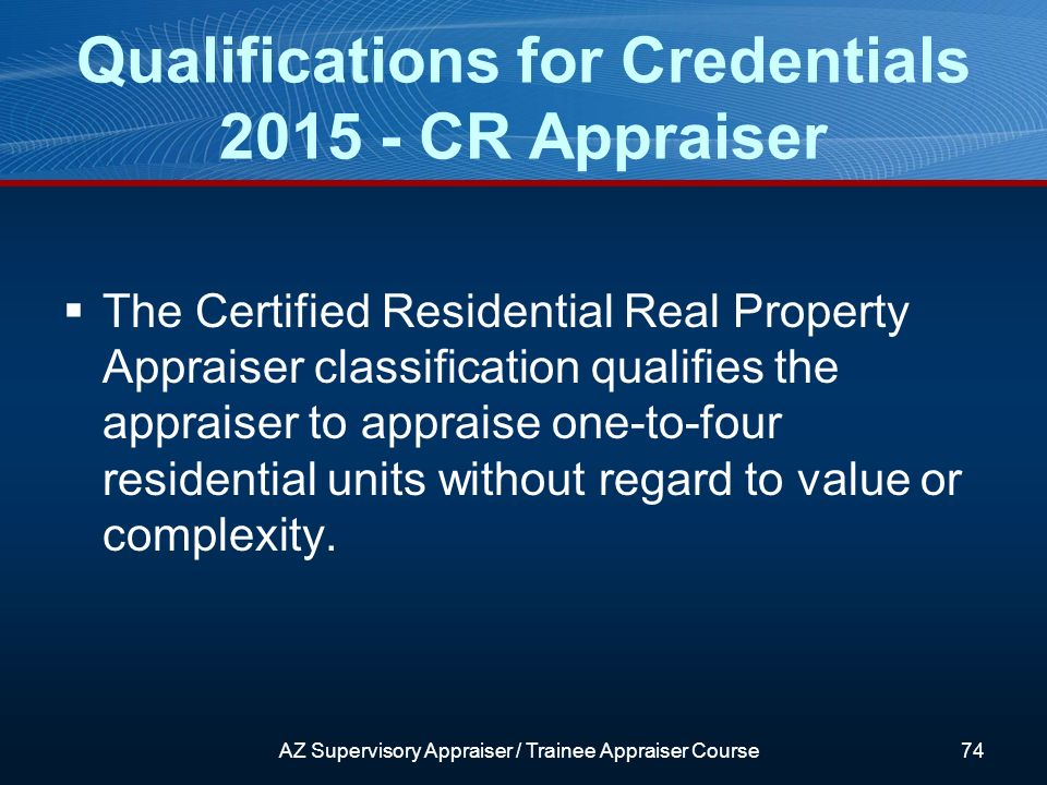 The Certified Residential Real Property Appraiser classification qualifies the appraiser to appraise one-to-four residential units without regard to value or complexity.