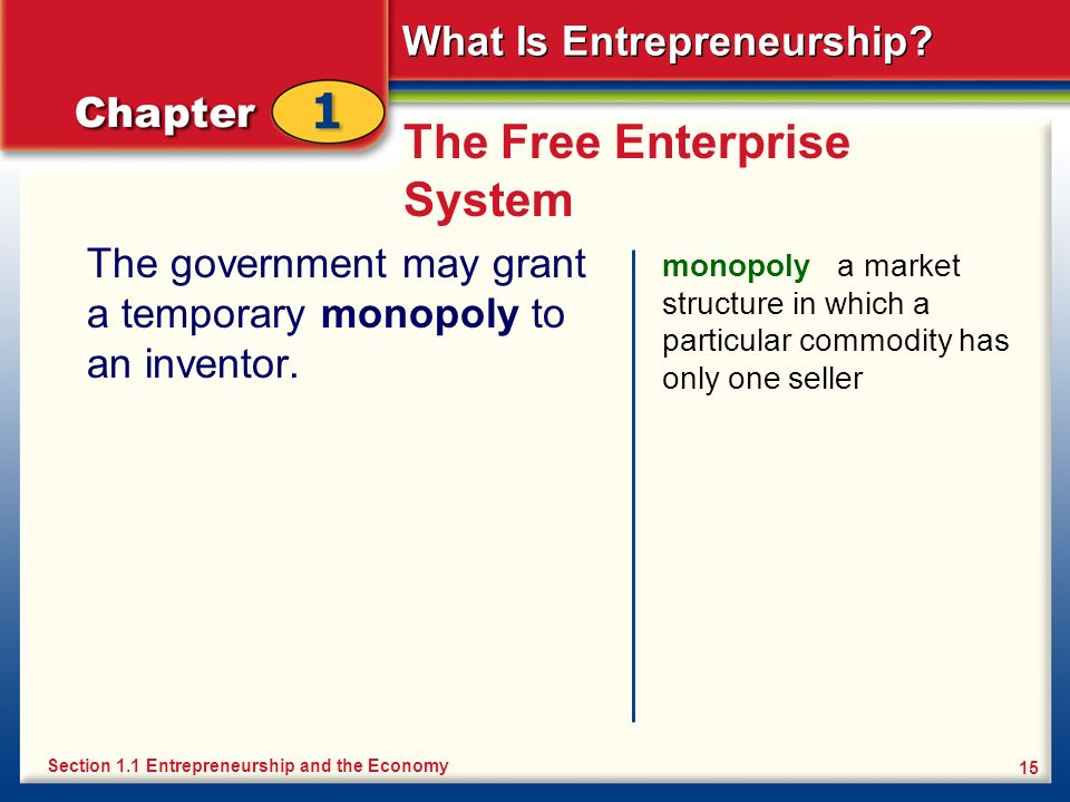 What Is Entrepreneurship? 15 The Free Enterprise System The government may grant a temporary monopoly to an inventor. monopoly a market structure in w