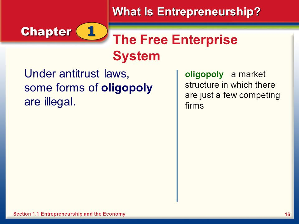 What Is Entrepreneurship? 16 The Free Enterprise System Under antitrust laws, some forms of oligopoly are illegal. oligopoly a market structure in whi