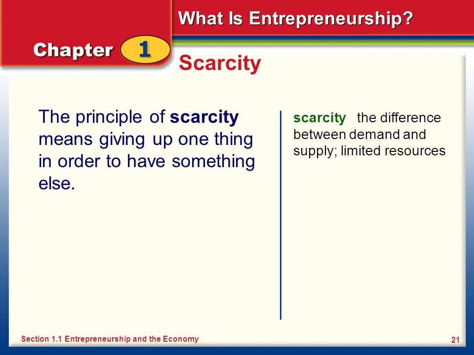 What Is Entrepreneurship? 21 Scarcity The principle of scarcity means giving up one thing in order to have something else. scarcity the difference bet