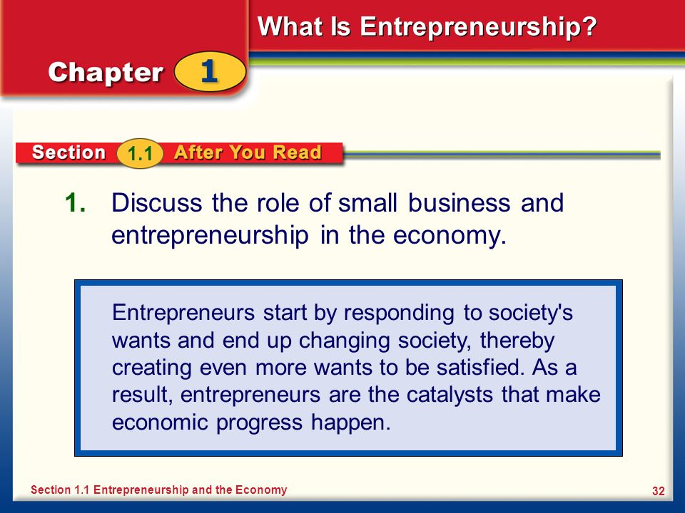 What Is Entrepreneurship? 32 1. Discuss the role of small business and entrepreneurship in the economy. Section 1.1 Entrepreneurship and the Economy 1