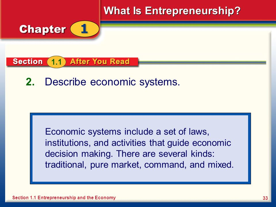 What Is Entrepreneurship? 33 2. Describe economic systems. Section 1.1 Entrepreneurship and the Economy 1.1 Economic systems include a set of laws, in