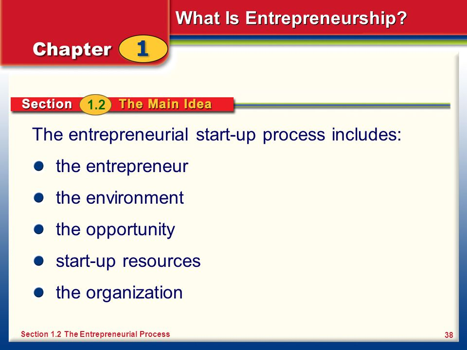 What Is Entrepreneurship? 38 The entrepreneurial start-up process includes: the entrepreneur the environment the opportunity start-up resources the or