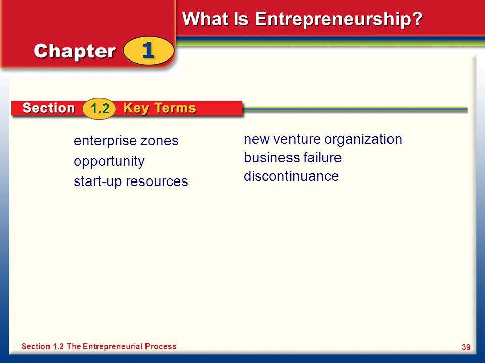 What Is Entrepreneurship? 39 enterprise zones opportunity start-up resources Section 1.2 The Entrepreneurial Process 1.2 new venture organization busi