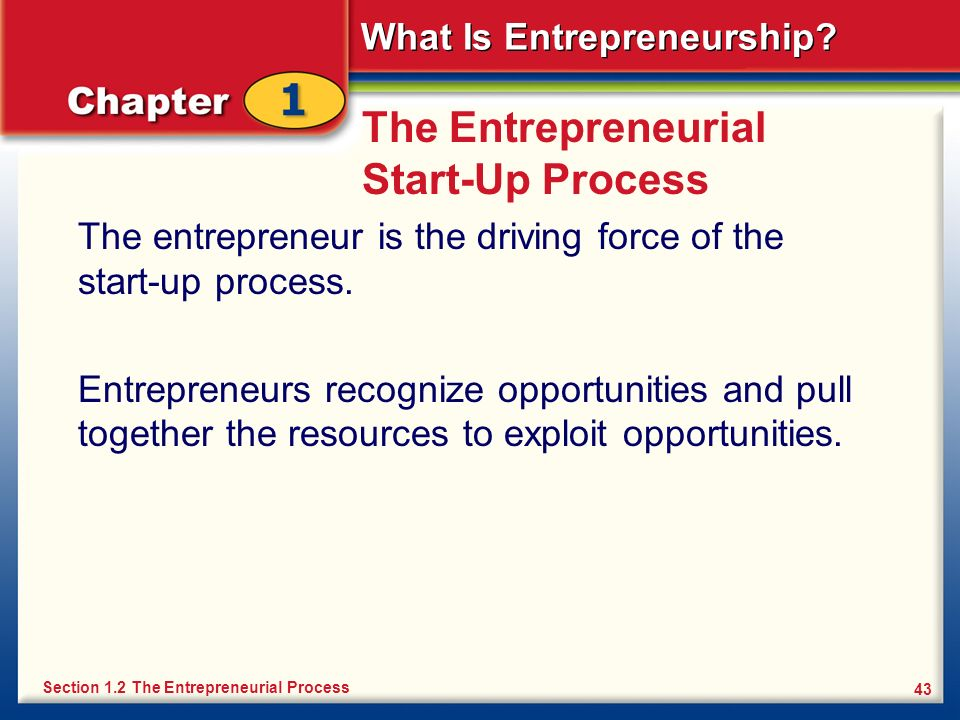 What Is Entrepreneurship? 43 The Entrepreneurial Start-Up Process The entrepreneur is the driving force of the start-up process. Entrepreneurs recogni