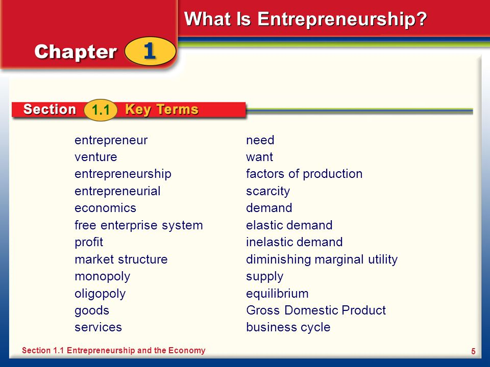 What Is Entrepreneurship? 5 entrepreneur venture entrepreneurship entrepreneurial economics free enterprise system profit market structure monopoly ol