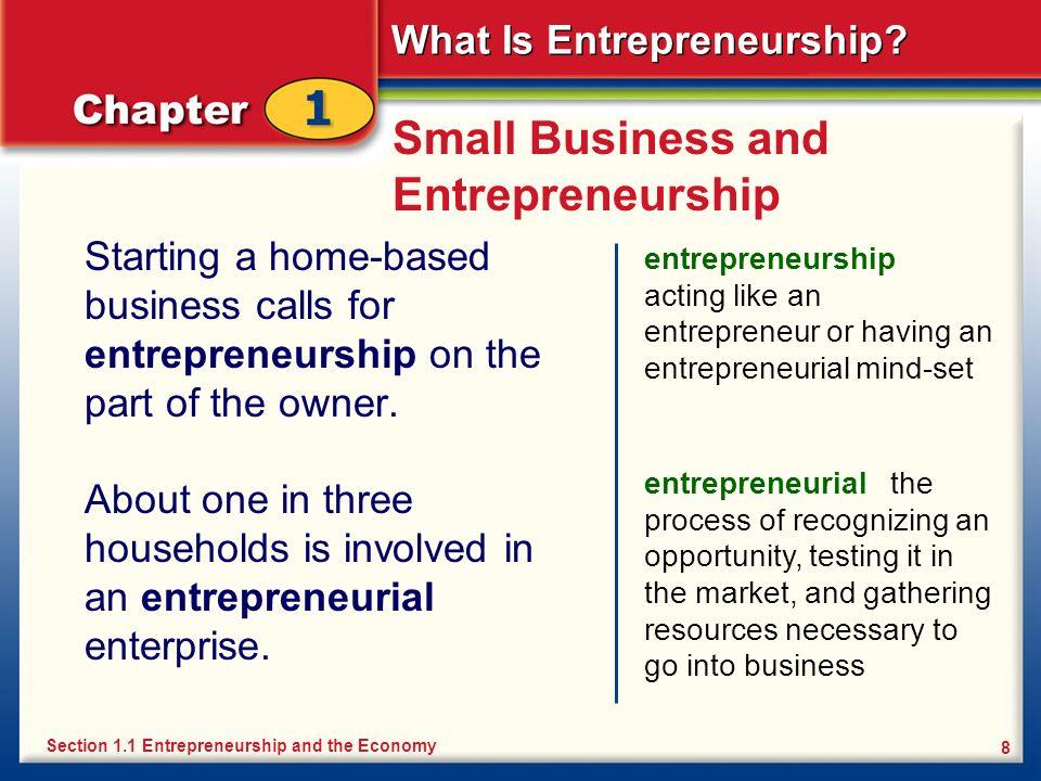 What Is Entrepreneurship? 8 Small Business and Entrepreneurship Starting a home-based business calls for entrepreneurship on the part of the owner. en