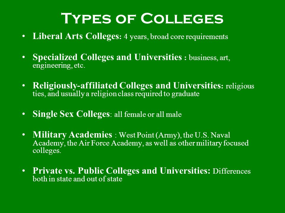 Types of Colleges Liberal Arts Colleges : 4 years, broad core requirements Specialized Colleges and Universities : business, art, engineering, etc. Re