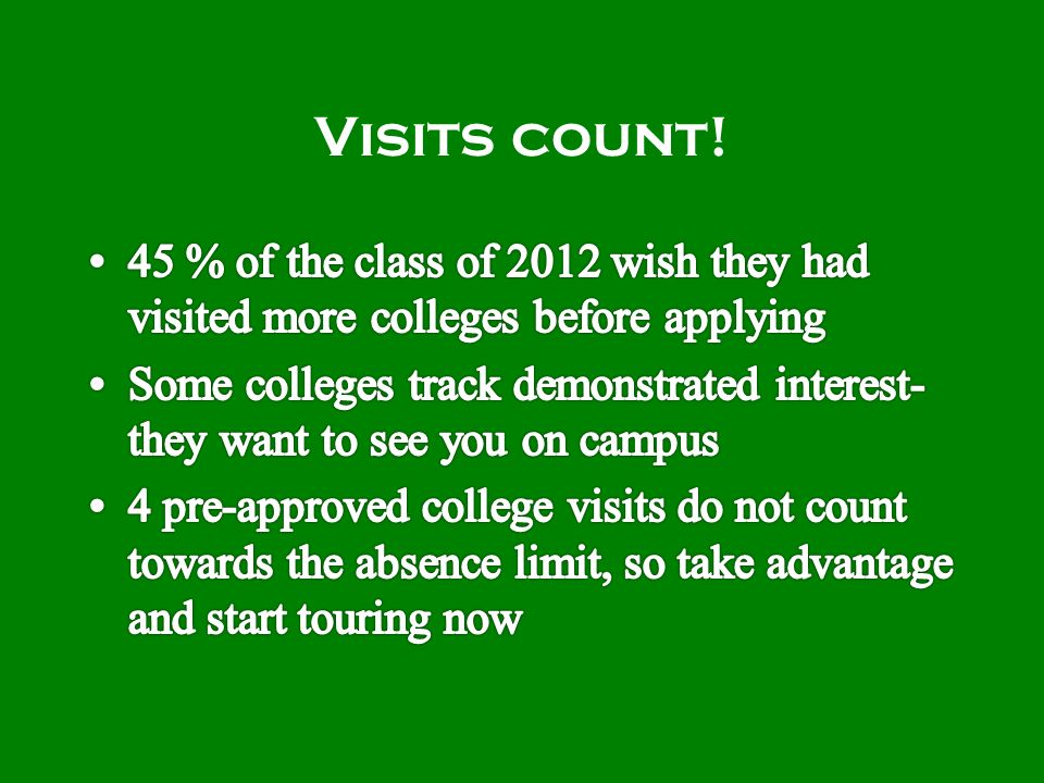 Visits count!
