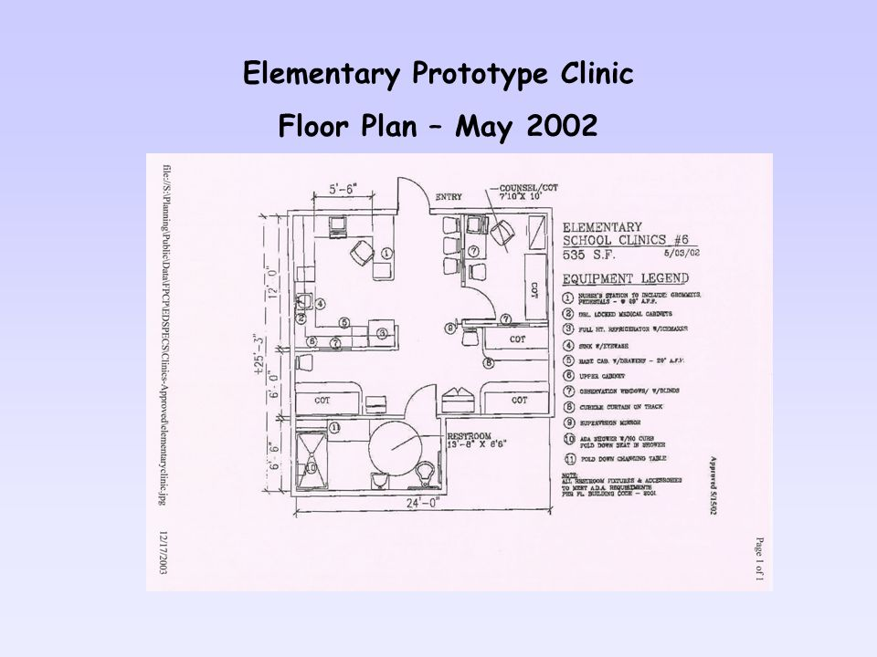 Elementary Prototype Clinic Floor Plan – May 2002