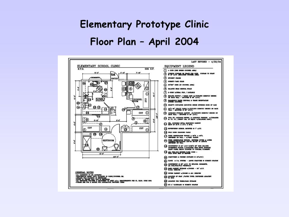Elementary Prototype Clinic Floor Plan – April 2004